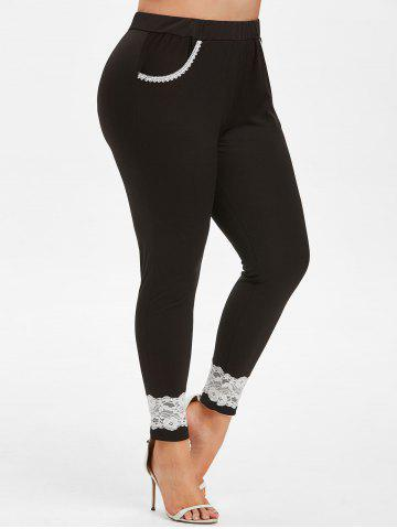 Lace Trim High Waisted Plus Size Skinny Pants