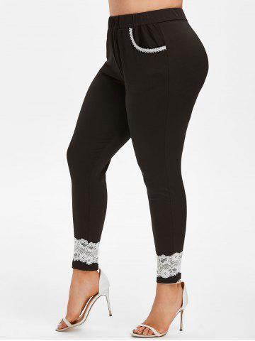 Lace Trim High Waisted Plus Size Skinny Pants - BLACK - 5X
