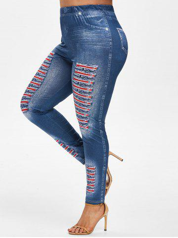 Plus Size 3D Ripped Jean Print Jeggings - DEEP BLUE - 3X