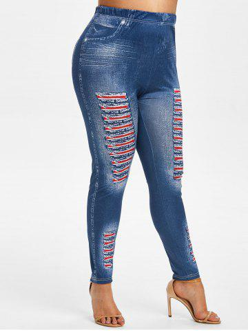 Plus Size 3D Ripped Jean Print Jeggings