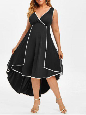 Plus Size Overlay Contrast Trim High Low Dress - BLACK - L