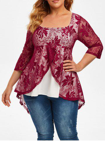 Plus Size High Low Lace Overlay Tail Blouse - RED WINE - L