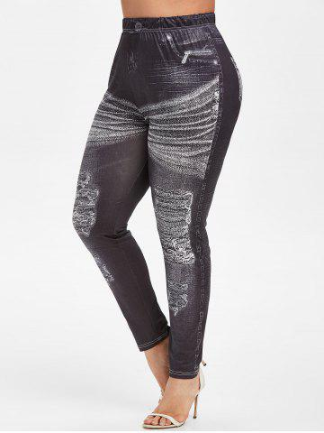 Plus Size 3D Ripped Jean Print Skinny Jeggings