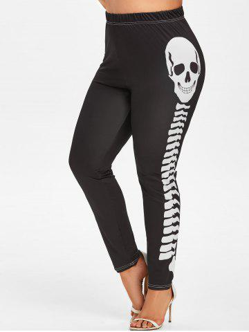 Plus Size Contrast Skeleton Printed Leggings
