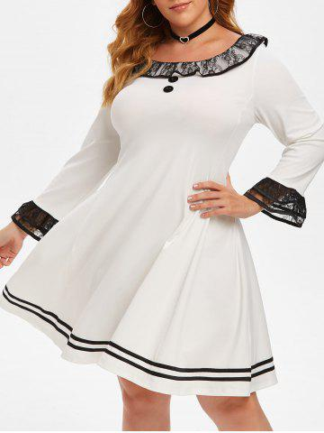 Lace Panel Ruffles Layered Sleeve Plus Size Dress - WHITE - 3X