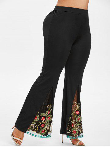 Plus Size High Rise Embroidered Mesh Flare Pants