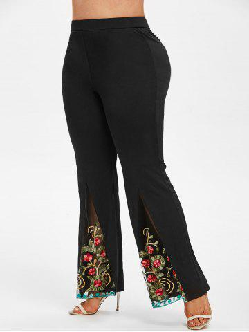 Plus Size High Rise Embroidered Mesh Flare Pants - BLACK - L