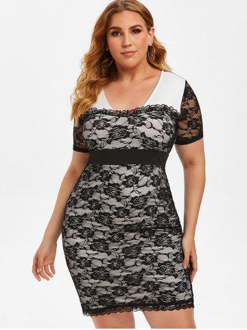 Plus Size Lace See Thru Frilled Tight Plunging Dress