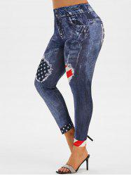 High Waisted American Flag 3D Print Plus Size Jeggings -