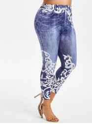 Plus Size Anthemion 3D Jean Print High Waisted Jeggings -