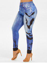Plus Size Bat 3D Printed High Waisted Jeggings -