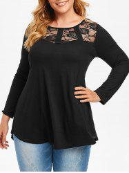 Plus Size Lace Panel Curved Tunic Tee -
