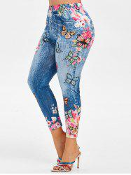 Plus Size High Rise Floral Butterfly Print Ninth Jeggings -