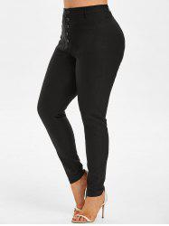 Plus Size Button Fly Front Pocket Skinny Pants -