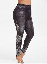 Plus Size 3D Denim Tribal Print Jeggings -
