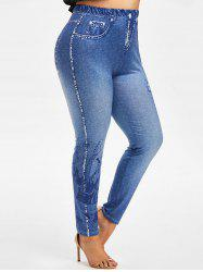 Plus Size Musical Notes 3D Jean Print Jeggings -