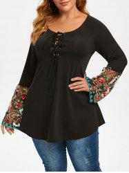 Plus Size Lace-up Flower Embroidery Sheer Flare Sleeve Tee -