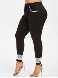 Lace Trim High Waisted Plus Size Skinny Pants -