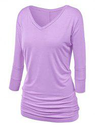 Plus Size Batwing Sleeve Ruched T Shirt -