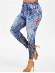 Plus Size 3D Lace Print Butterfly Ninth Jeggings -