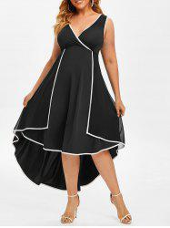 Plus Size Overlay Contrast Trim High Low Dress -