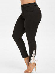 Plus Size Lace Insert Tapered Pants -