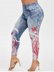 Plus Size 3D Printed Ninth Jeggings -