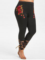Plus Size Lace Insert Floral Applique Leggings -
