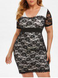 Plus Size Lace See Thru Frilled Tight Plunging Dress -