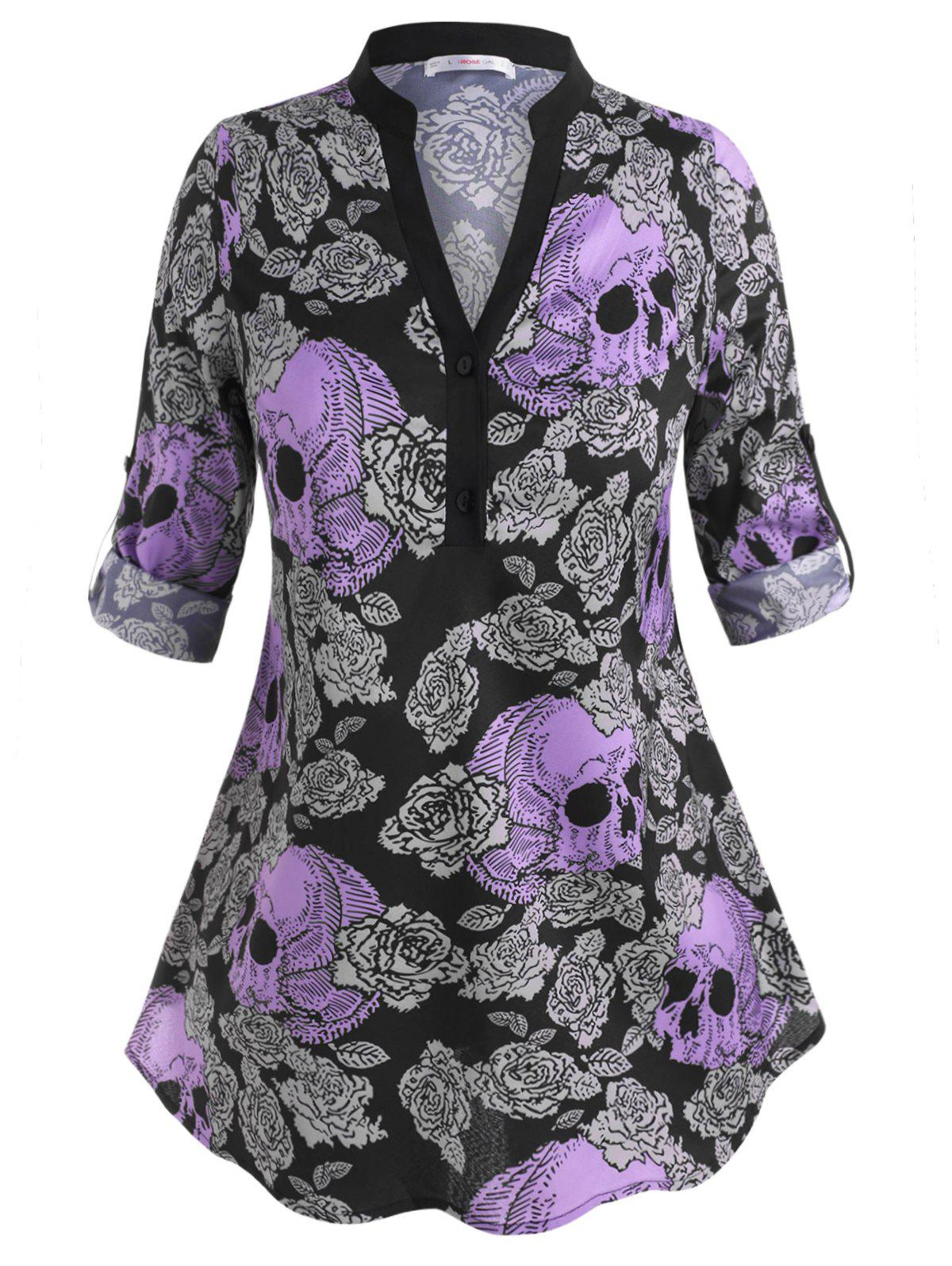 Fashion Skull Floral Tab Sleeve Halloween Plus Size Blouse