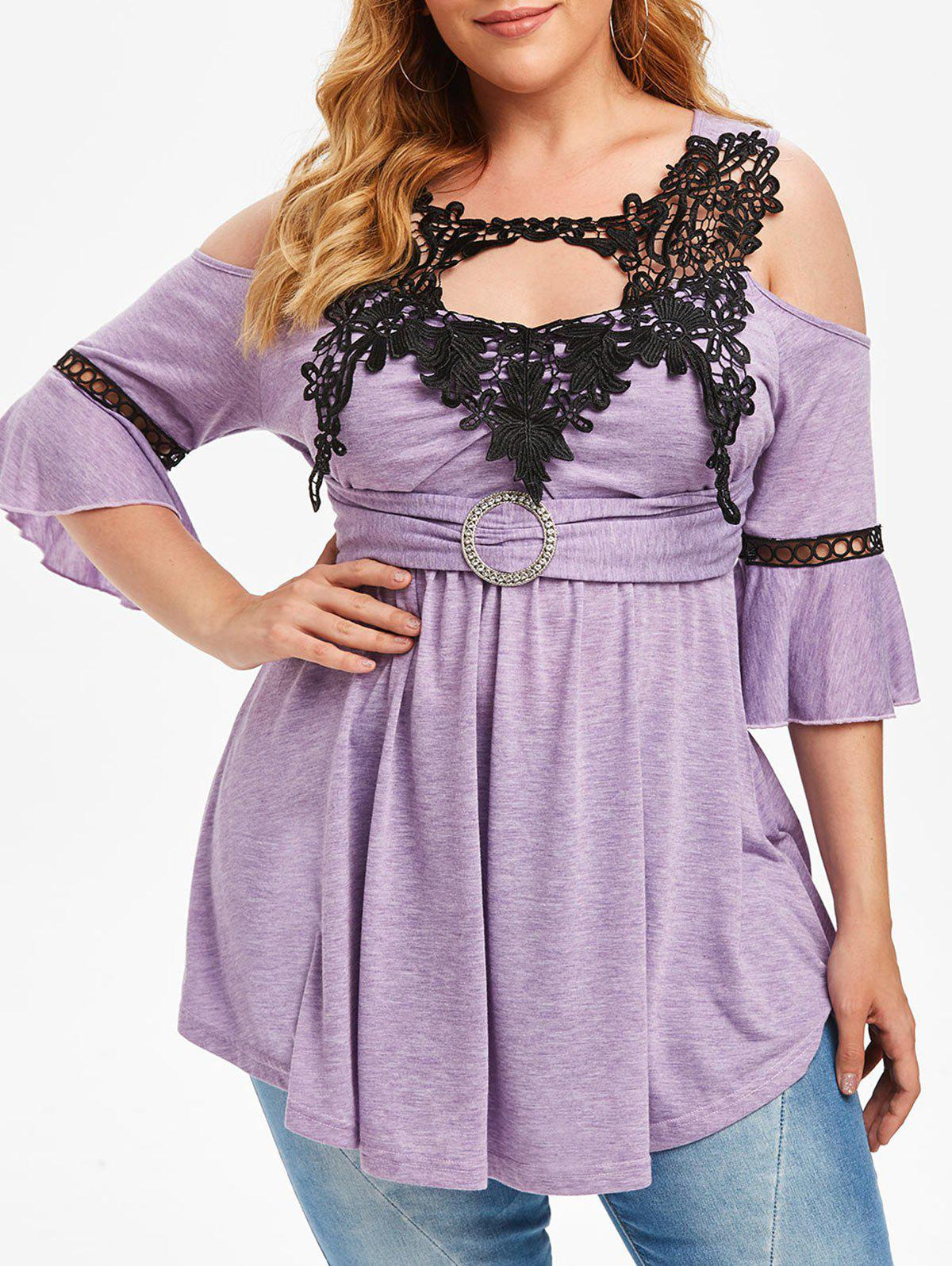 Online Plus Size Lace Crochet Flare Sleeve Open Shoulder T Shirt