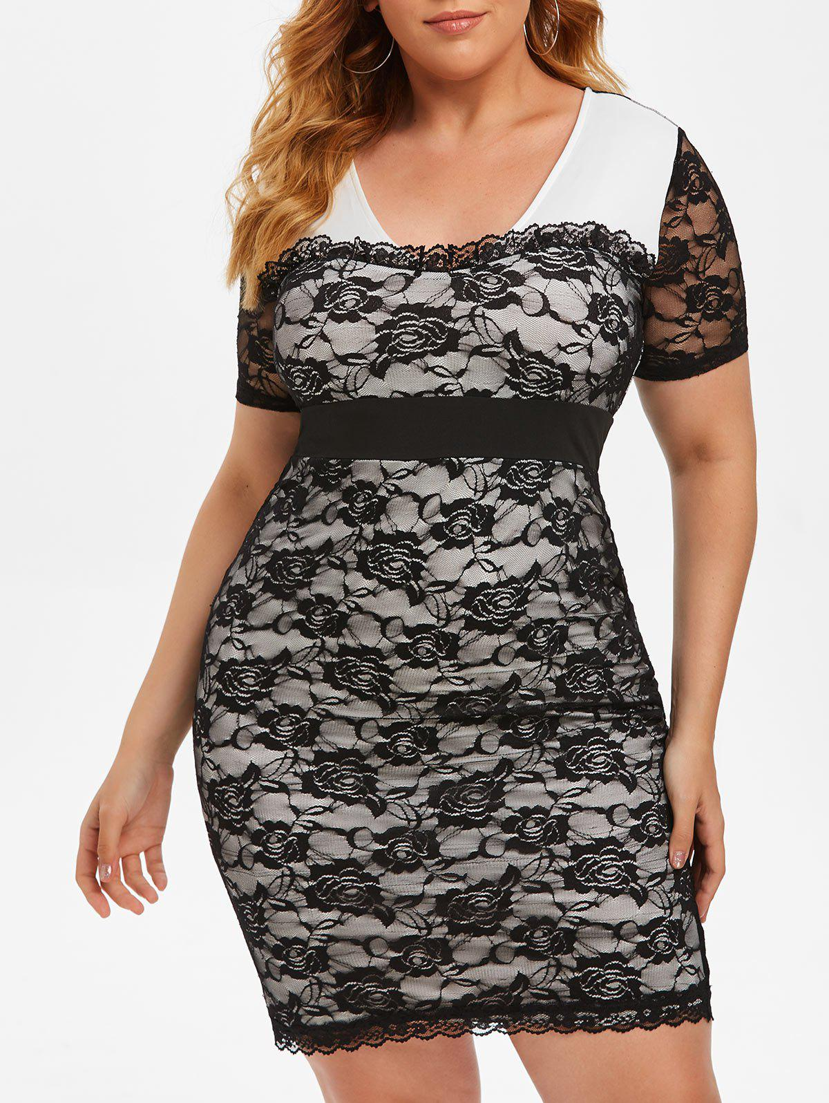 Chic Plus Size Lace See Thru Frilled Tight Plunging Dress