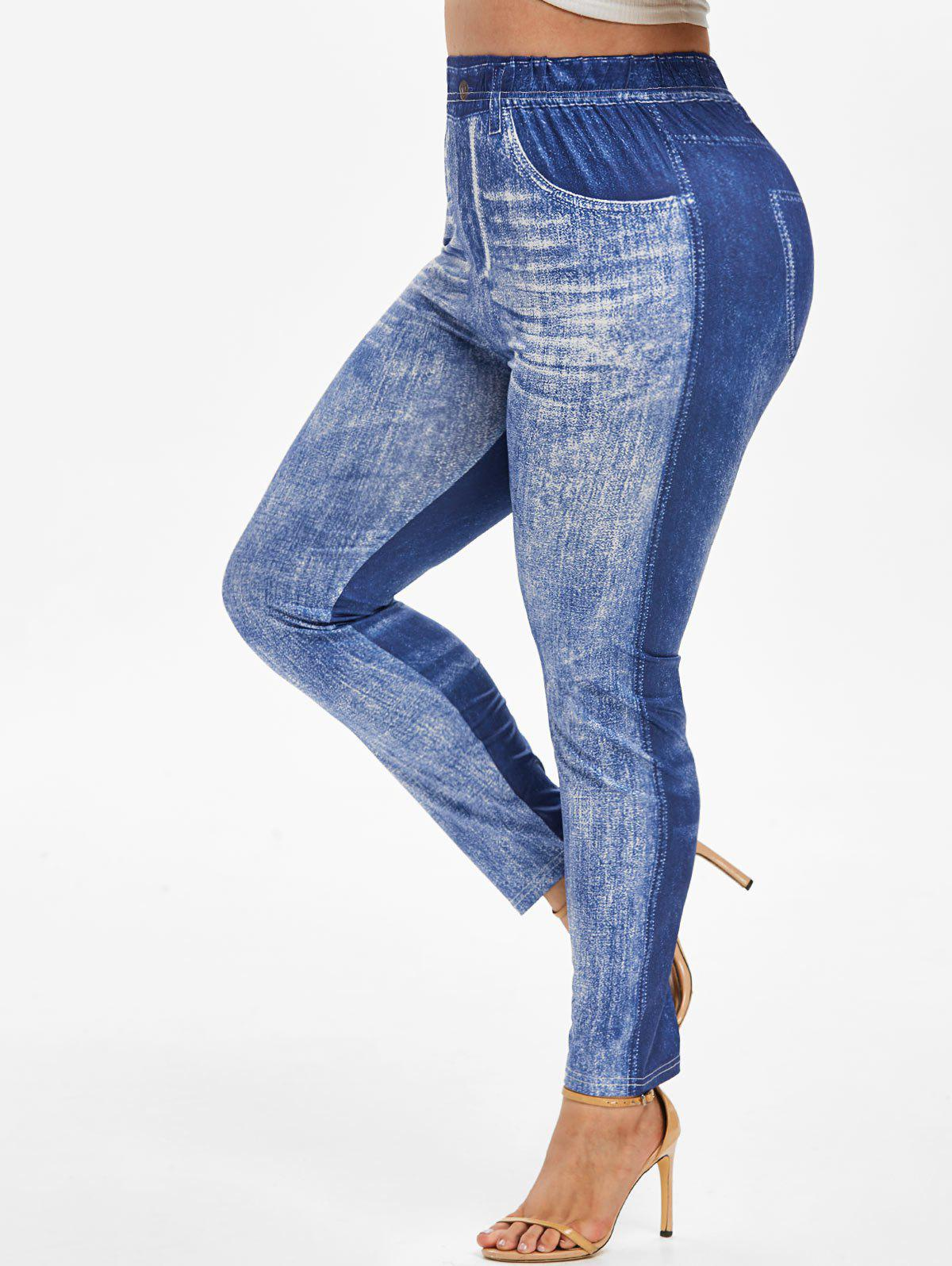 Outfits Plus Size 3D Jean Print Skinny Jeggings
