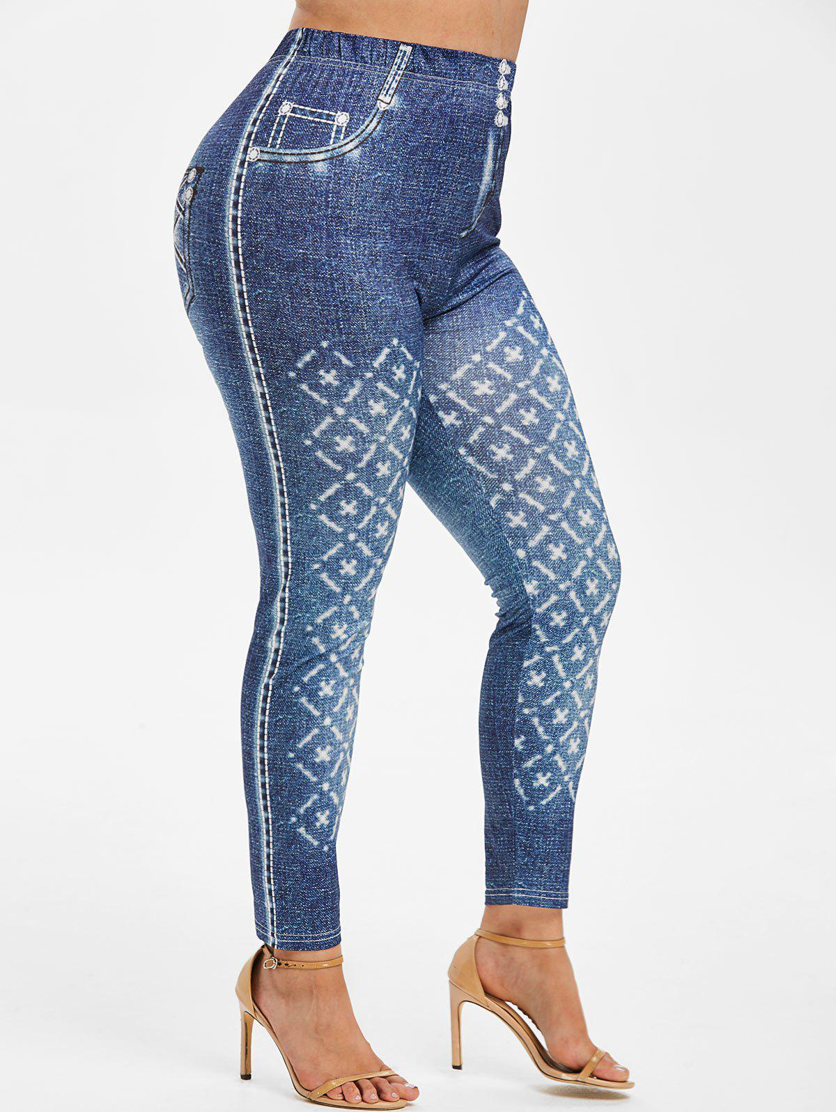 Shops Plus Size High Waisted 3D Jean Print Jeggings
