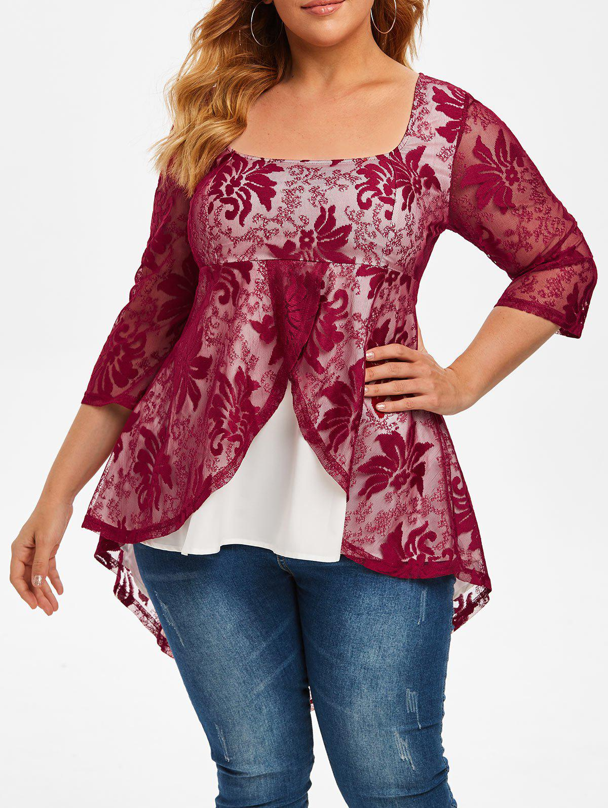 Trendy Plus Size High Low Lace Overlay Tail Blouse