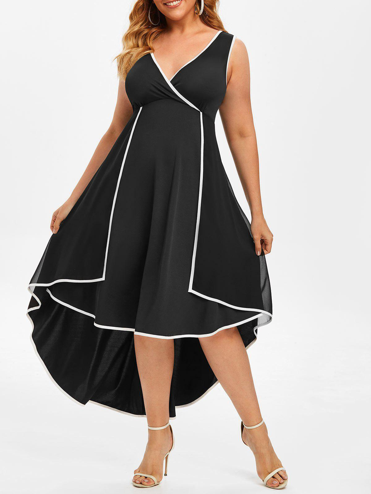 Affordable Plus Size Overlay Contrast Trim High Low Dress