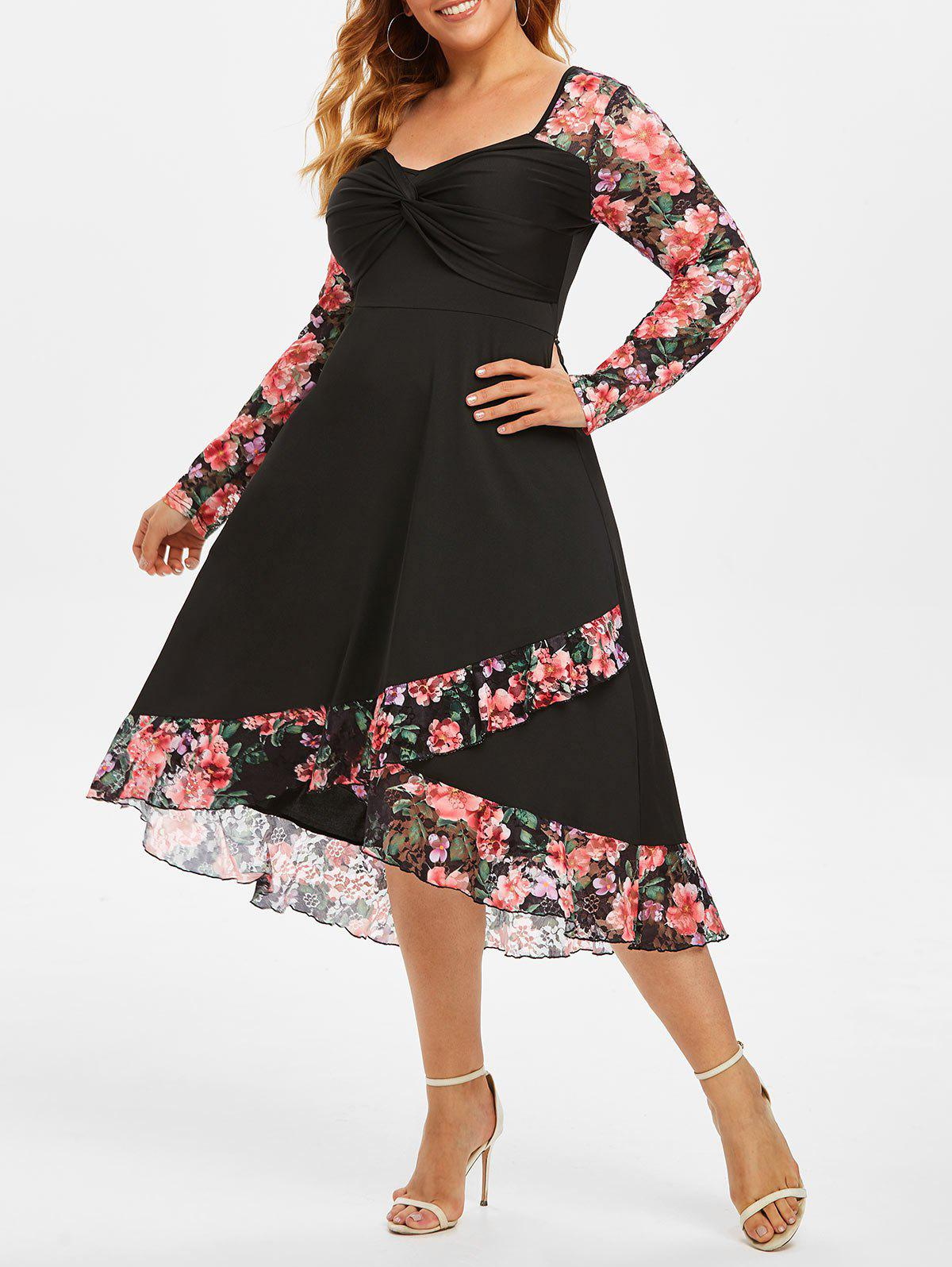 Hot Plus Size Floral Lace Twist High Low Dress