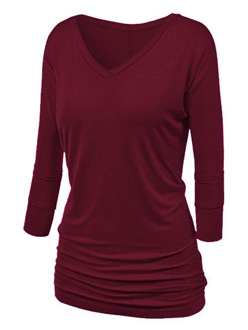 Plus Size Batwing Sleeve Ruched T Shirt фото