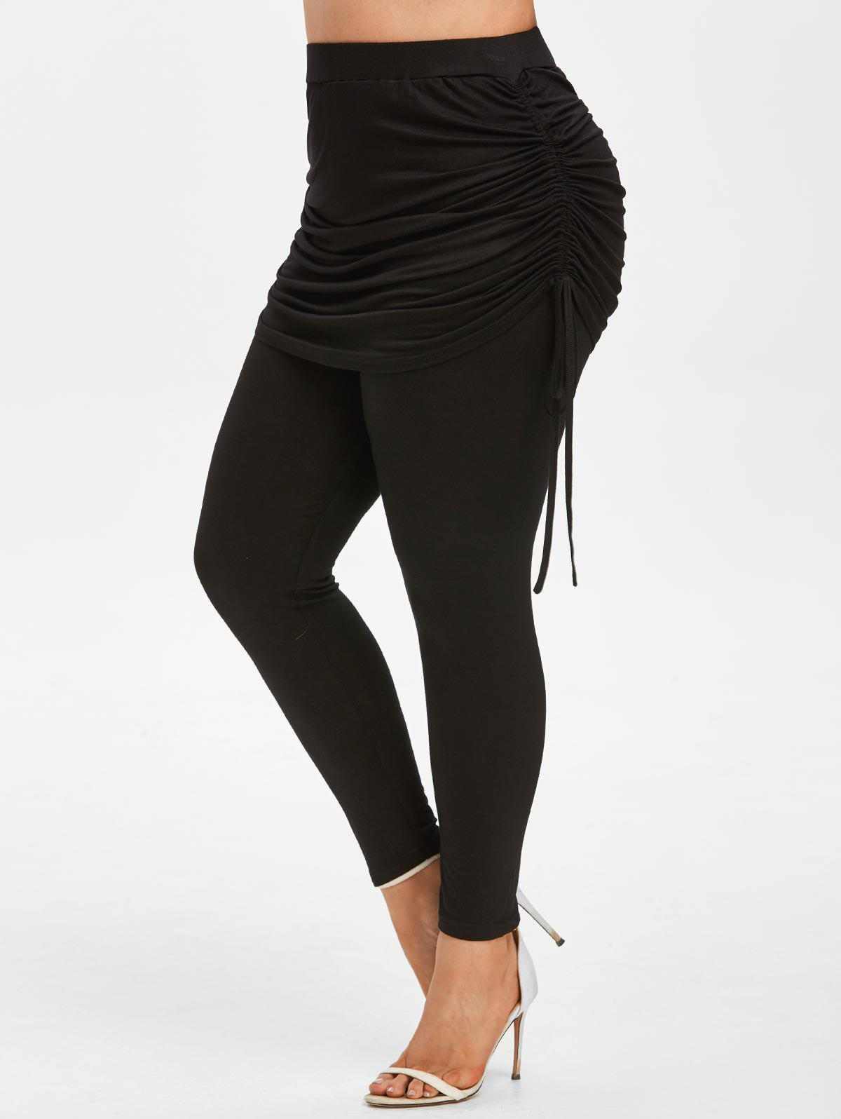 Plus Size High Rise Cinched Skirted Pants фото