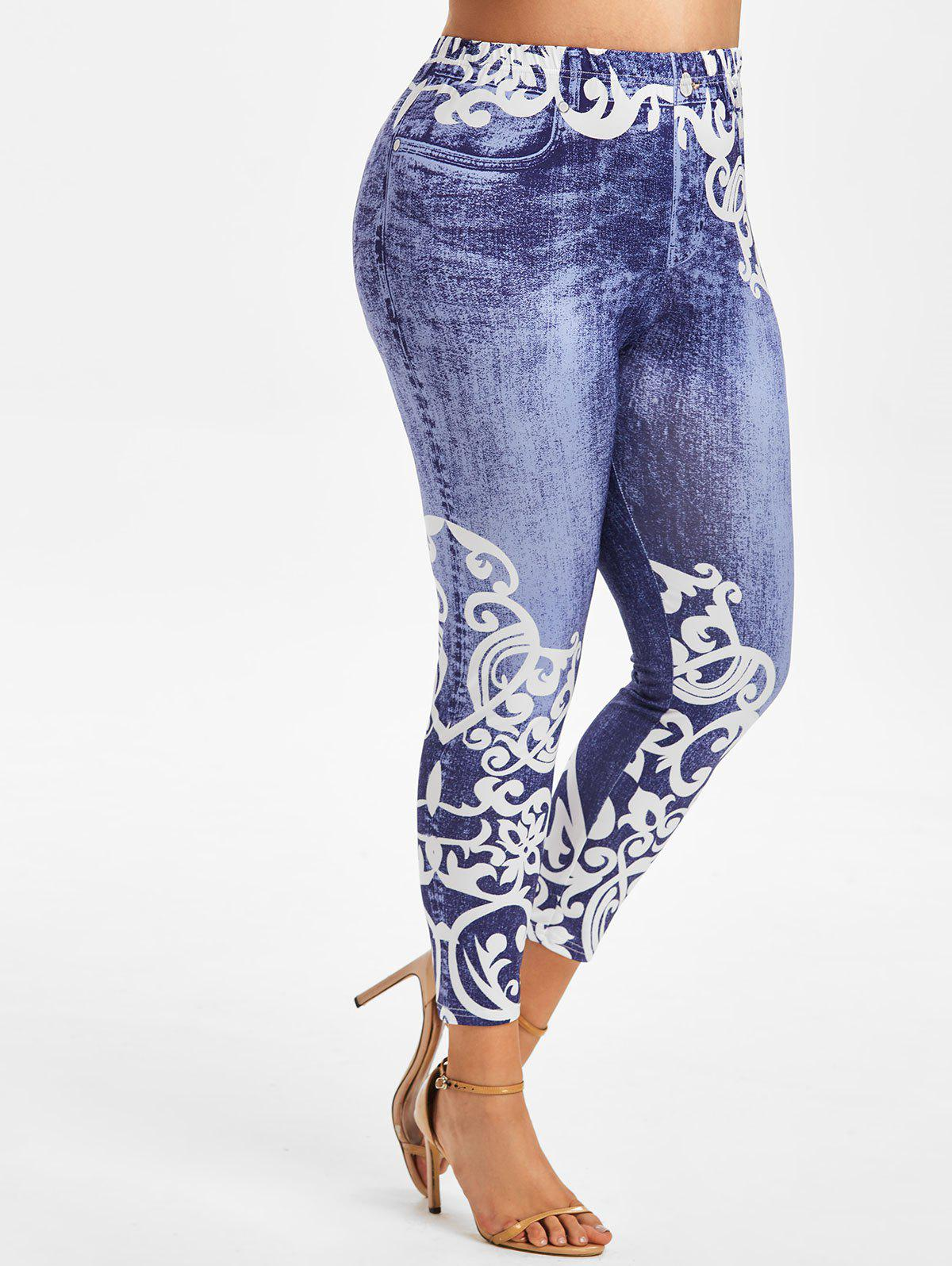 Outfit Plus Size Anthemion 3D Jean Print High Waisted Jeggings