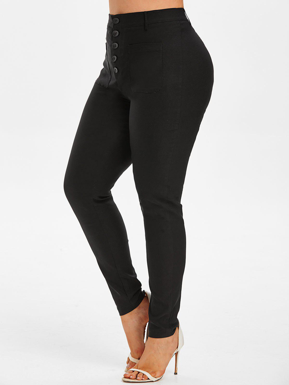 Unique Plus Size Button Fly Front Pocket Skinny Pants