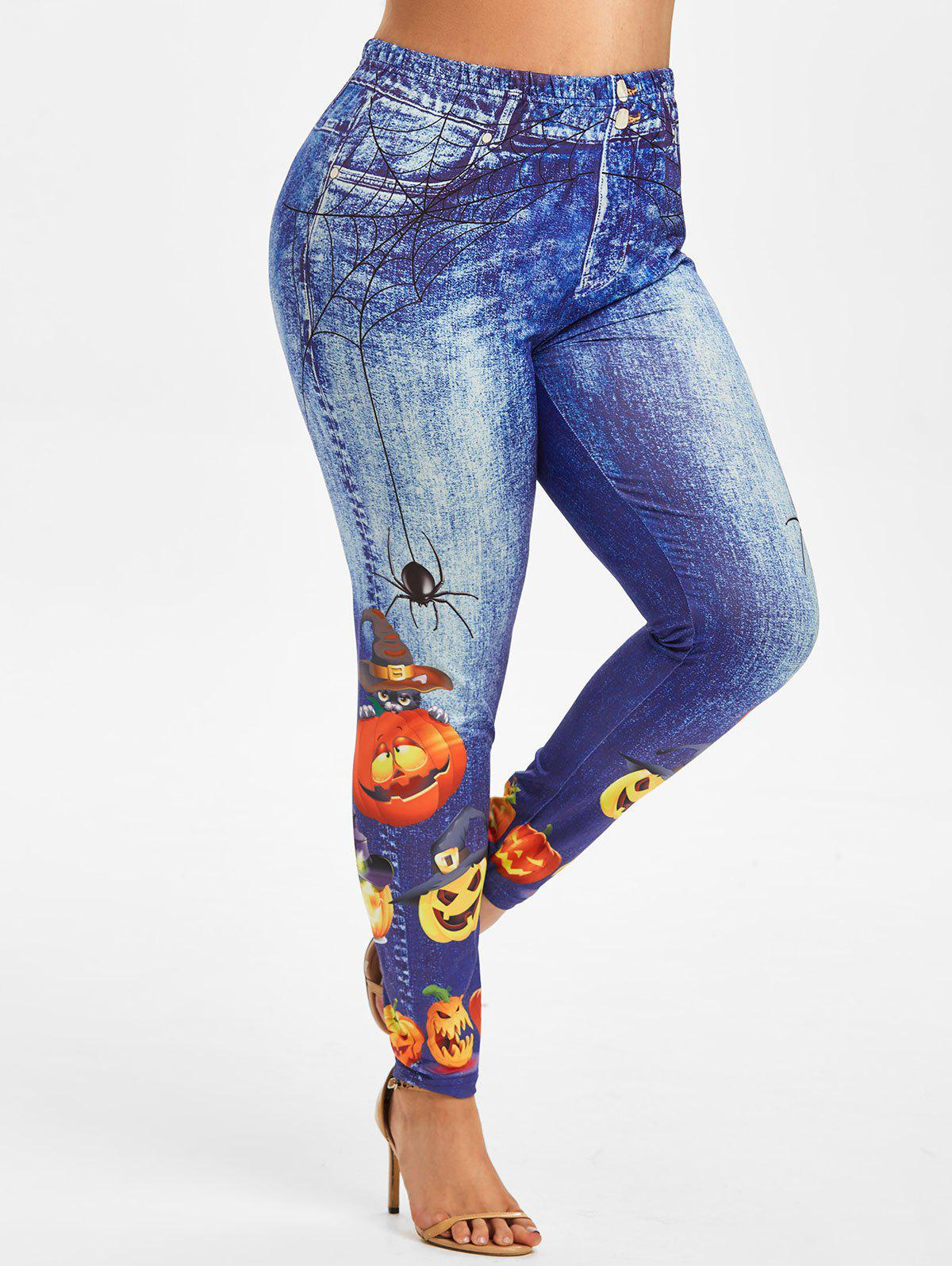 Shops Plus Size Halloween Funny Pumpkin 3D Pattern High Waisted Jeggings
