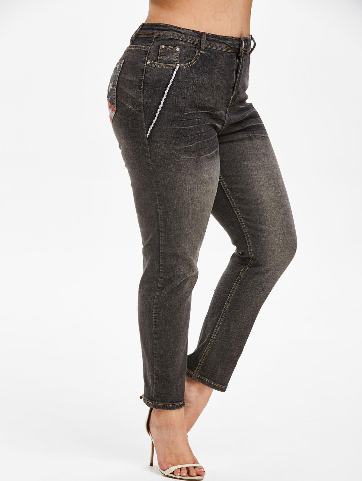 Shops Contrast Trim American Flag Plus Size Stovepipe Jeans