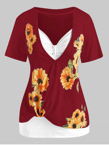 Plus Size Cutout Sunflower Print Tee and Tank Top Set