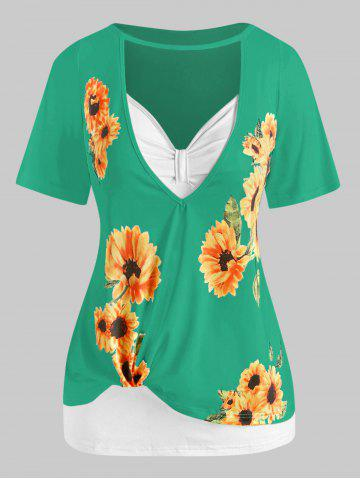 Plus Size Cutout Sunflower Print Tee and Tank Top Set - GREEN - L