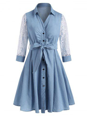 Lace Sleeve Pleated Detail Chambray Belt Shirt Dress