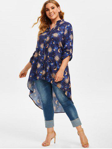 Plus Size Roll Up Sleeve Sun Moon Print High Low Blouse