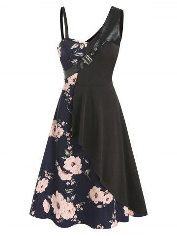 Floral Print Buckled Layered Asymmetrical A Line Dress