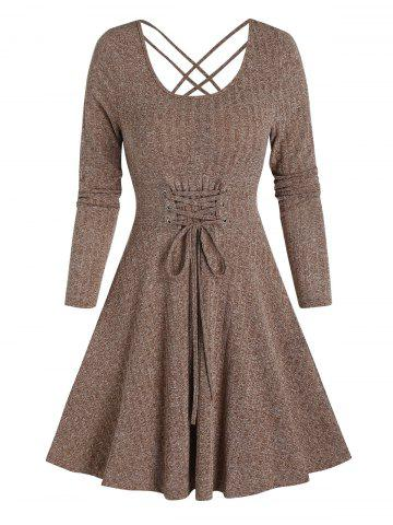 Long Sleeve Lace-up Front Mini Ribbed Dress