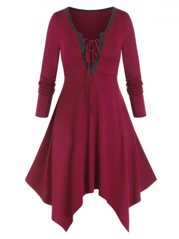 Plus Size Lace-up Hanky Hem Long Sleeve Casual Dress - RED WINE - 3X